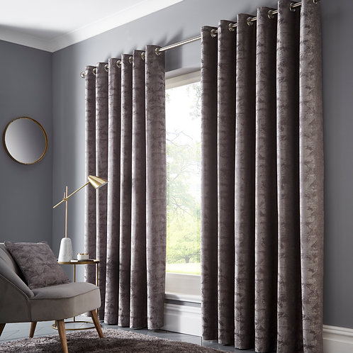 Topia Charcoal Eyelet Curtains