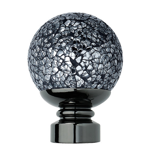 Neo Style 35 mm Cracked Mosaic Ball Finial - Black Nickel