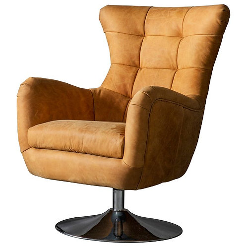 Cardiff Swivel Chair Saddle Tan