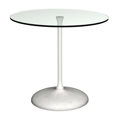 Swan Circular Dining Table -  White Column & Concrete Base.