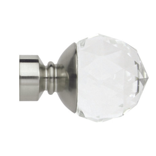 Neo Premium 28 mm  Clear Faceted Ball Finial - Stainless Steel
