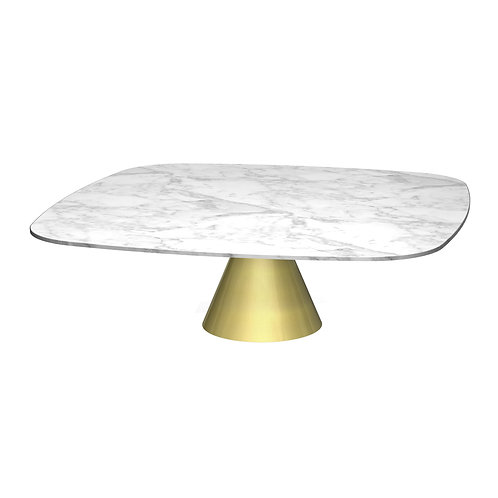 Oscar Large Square Coffee Table - Brass Base