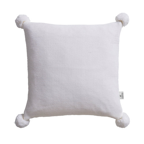 Ivory Pom Pom Cushion