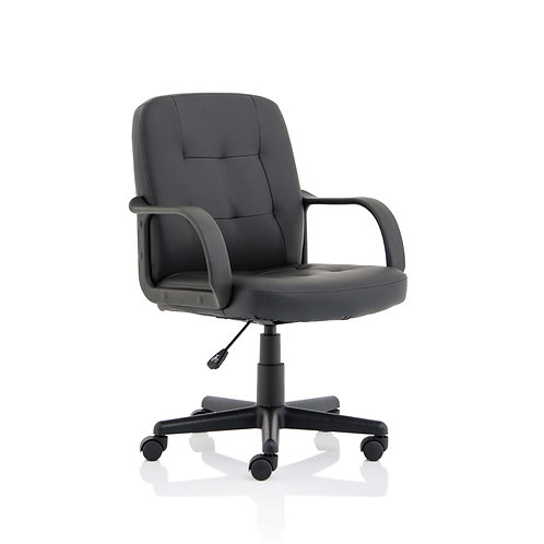 Hugo Black PU Chair With Fixed Arms