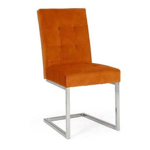 Tivoli Dark Oak Uph Cantilever Chair - Harvest Pumpkin Velvet (Pair)