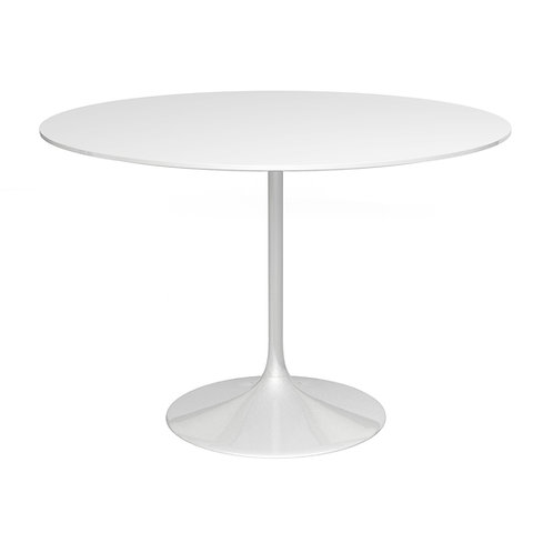 Swan Large Circular Dining Table - Gloss White Base