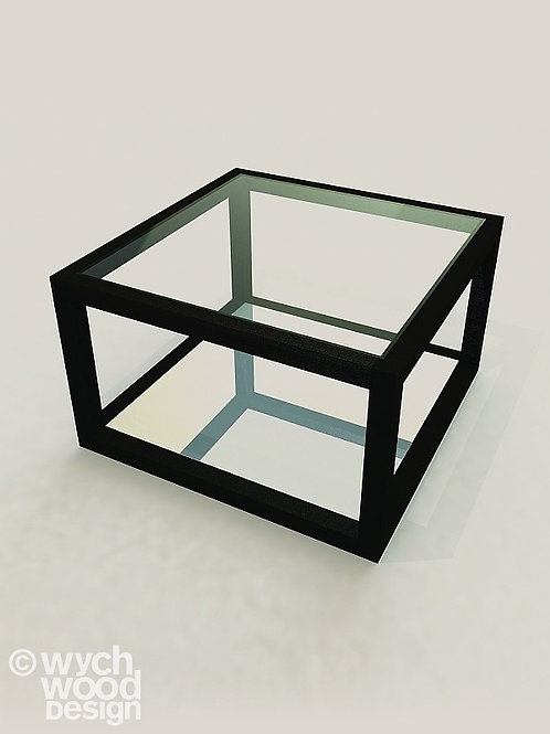 Wooden Square Side Table with Glass Top  and Mirrored Base