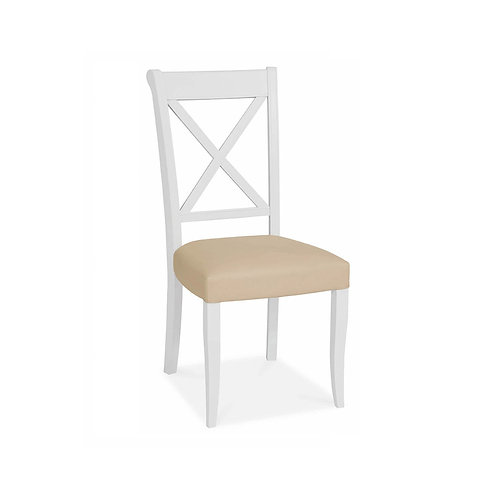 Hampstead Two Tone X Back Chair - Ivory Bonded Leather (Pair)