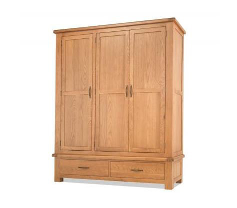 Burnham Oak - Triple Wardrobe with Drawers