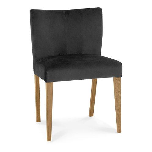 Turin Light Oak Low Back Uph Chair - Gun Metal Velvet Fabric (Sold in Pairs)