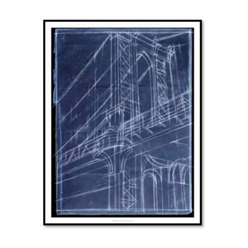 Bridge Blueprint I - Framed & Mounted