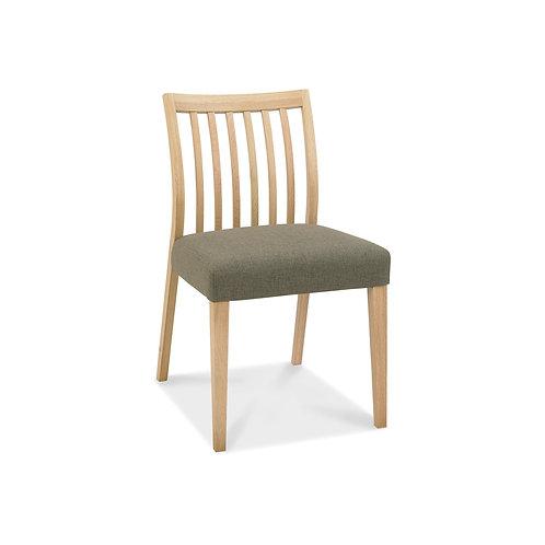 Bergen Oak Low Slat Back Chair - Black Gold Fabric (Pair)