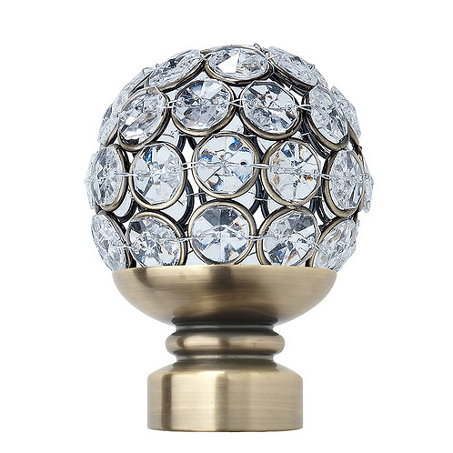 Neo Style 35 mm  Clear Jewelled Ball Finial - Spun Brass