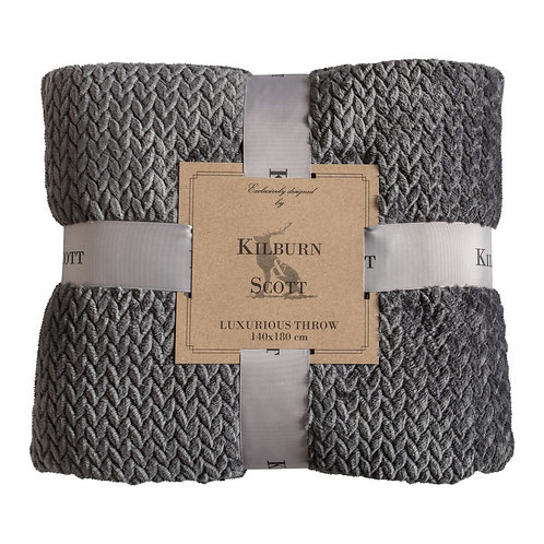 Snuggly Chevron Flannel Fleece Throw - Charcoal