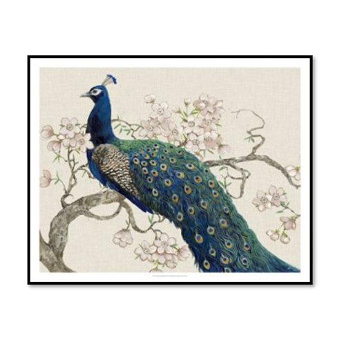 Peacocks & Blossoms II - Framed & Mounted