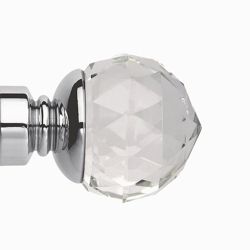 Neo Premium 35 mm Clear Faceted Ball Finial - Chrome