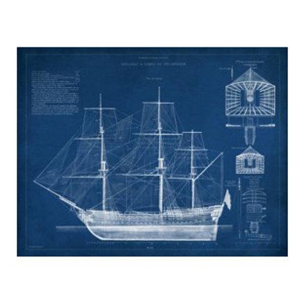 Antique Ship Blueprint IV - Canvas Art