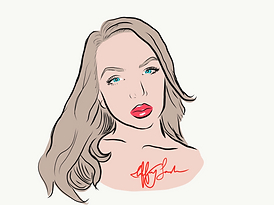 Digital cartoon portrait drawing woman image