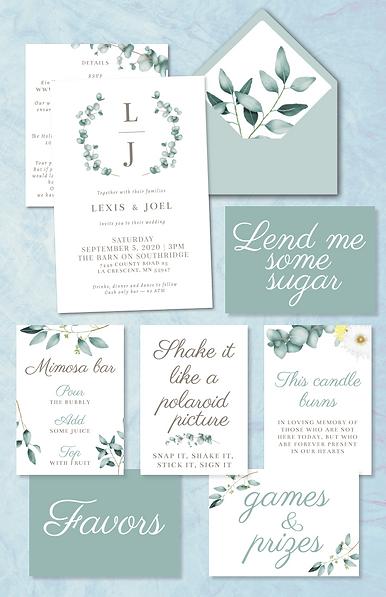 eucalyptus wedding invitation and signs image