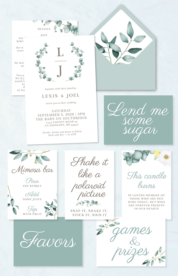 eucalyptus wedding invitation and signs image