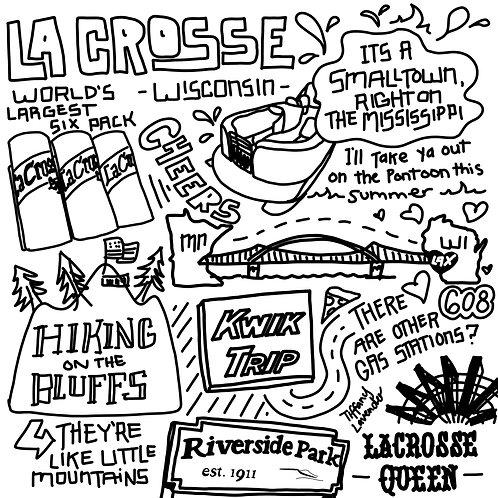 Explaining La Crosse, Wisconsin doodle by Tiffany Lavender Poster