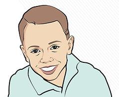 Digital cartoon portrait drawing boy image