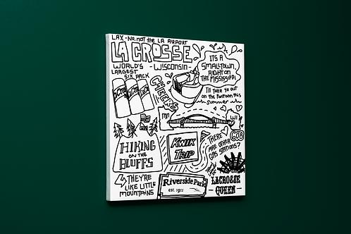 Explaining La Crosse, Wisconsin doodle by Tiffany Lavender Canvas