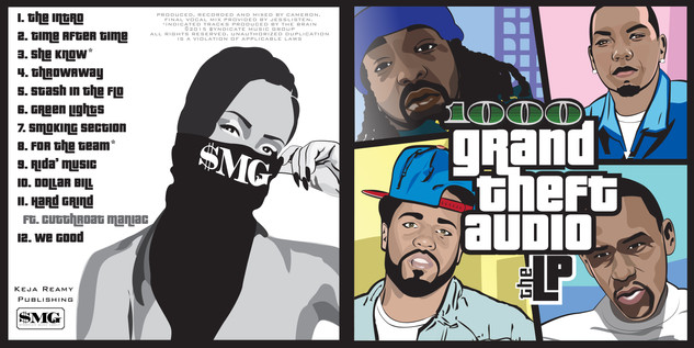 Grand Theft Audio CD cover art Illustrated illustration and layout by Tiffany Lavender