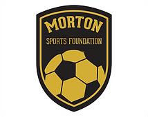 Morton Sports Foundation logo-gold and black-soccer ball-badge logo