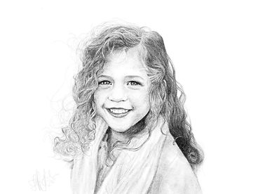 digital pencil drawing of little girl image