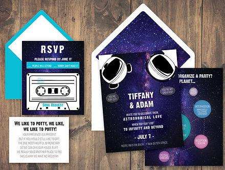 Galaxy pun wedding invitation rsvp and envelopes