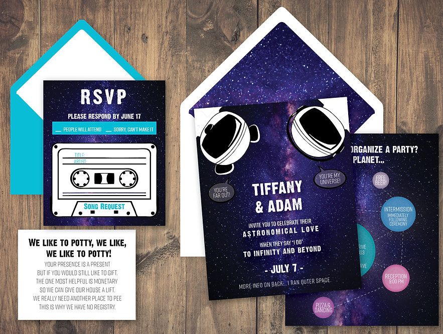 Galaxy pun wedding invitation rsvp and envelopes