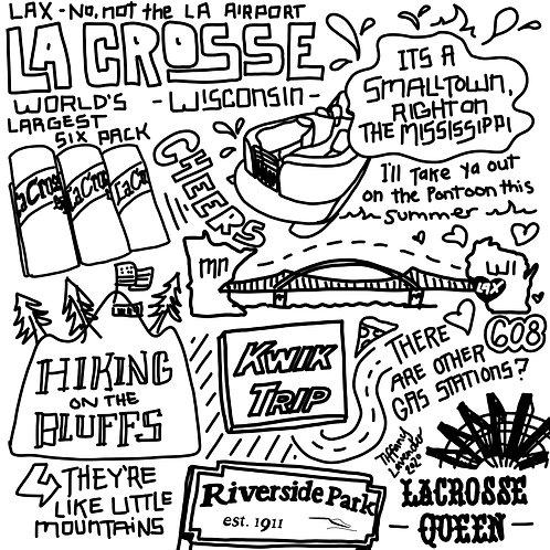 Explaining La Crosse, Wisconsin doodle by Tiffany Lavender Digital Download