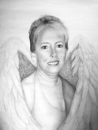 Memorial portrait with wings drawing pencil and paper art image