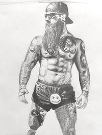 Sketch of Derek Weida pencil and paper drawing image