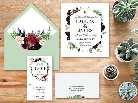 flower and succulent wedding invitation rsvp and envelope design image