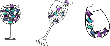 Illustrated bobbins in wine glasses illstrations done by Tiffany Lavender