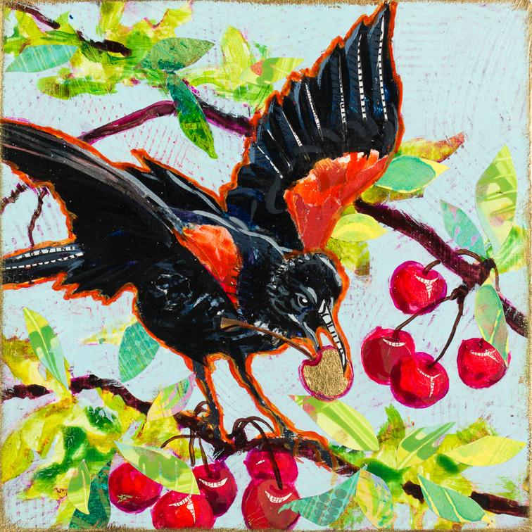 "Redwing Blackbird 8x8x2"" mixed media block $200"