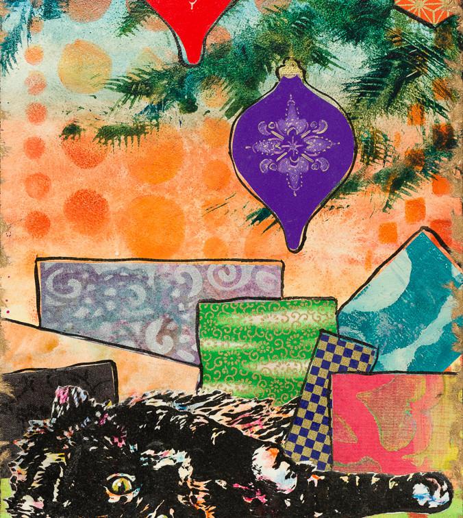 "Christmas Reverie 12x8x2"" mixed media block $275"