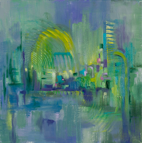 """Downtown 2  12x12"""" oil on canvas $285"""