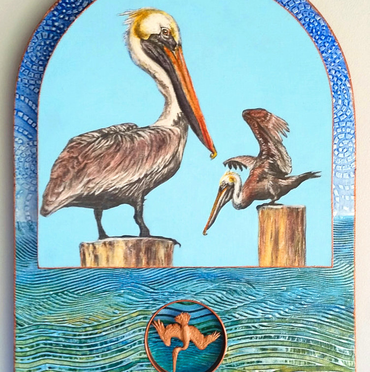 """Brown Pelicans 20x14"""" mixed media $1050"""