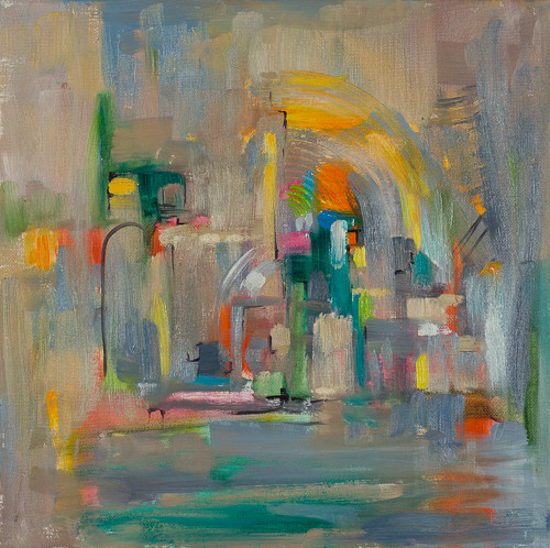 """Downtown 1  12x12"""" oil on canvas $285"""