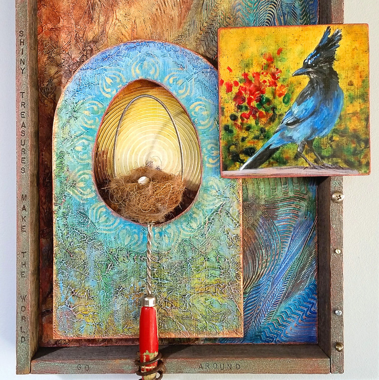 """Shiny Treasures 19x14"""" mixed media $1150"""