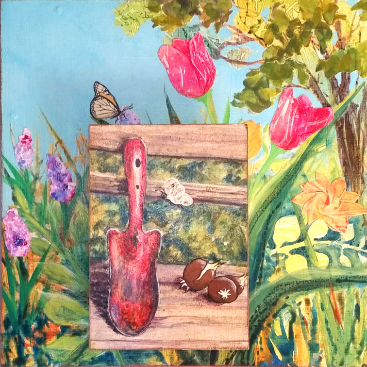 """Red Trowel 12x12"""" mixed media $280"""