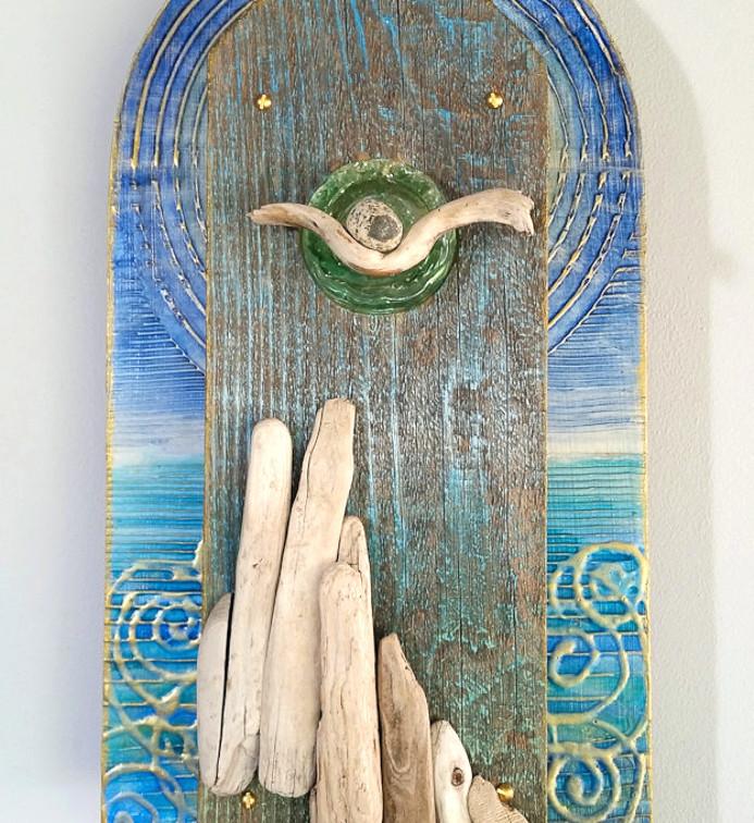 "Dreams in Driftwood 16x8x3.5"" mixed media $850"