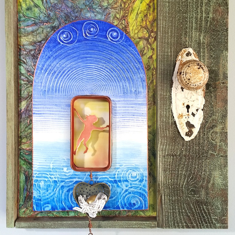 """Dreaming is the Key 19x16.5x3.5"""" mixed media $1170"""