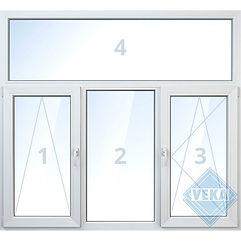 Трёхстворчатое бесшовное окно с фрамугой veka, поворотно-откидное, глухое, белое, цветное, с ламинацией цены, окна века цена