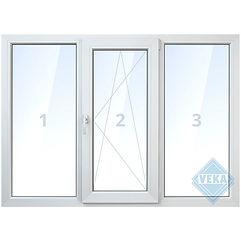 Трёхстворчатое бесшовное окно veka, поворотно-откидное, глухое, белое, цветное, с ламинацией цены, окна века цена