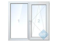 Двухстворчатое бесшовное окно veka, поворотно-откидное, глухое, белое, цветное, с ламинацией цены, окна века цена