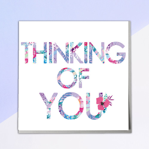 Thinking of you greeting card beautiful high quality lazer foiled greeting card left blank inside for your own message each card supplied with a grey envelope and cellophane sleeve m4hsunfo